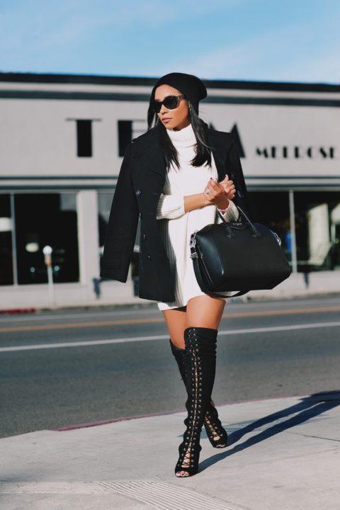 Sweater Dress & Thigh highs