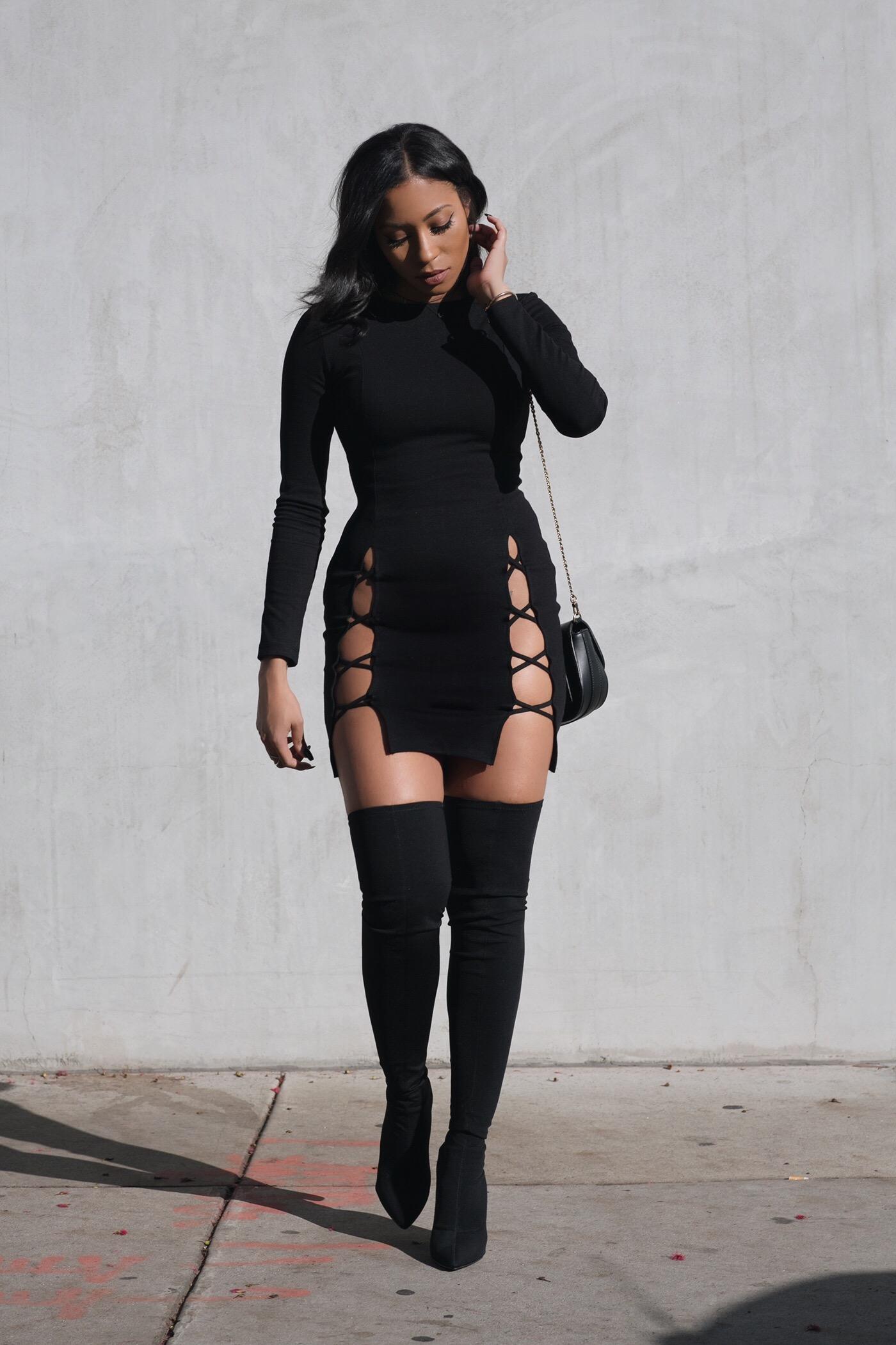 Little Black Dress, Big Black Boots